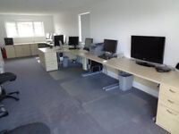 Hardly used maple office desks, tables, drawer units, cupboard.