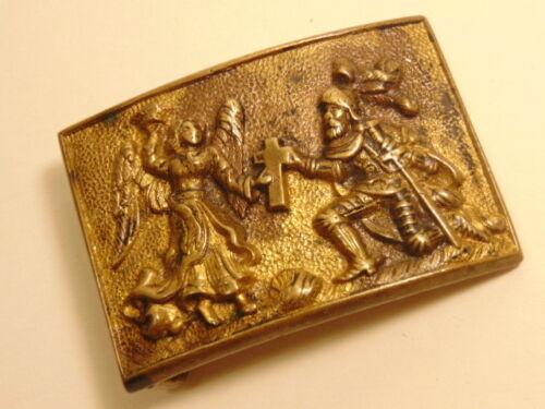 vintage fraternal belt buckle: knight kneeling before a cross held by an angel