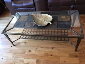 Glass & slate top coffee & two end tables for sale