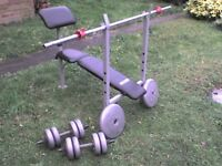 108 lb 49 kg Big Grey Dumbbell & Barbell Weights and Bench - Heathrow