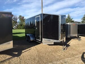 New 7x14 Tandem Enclosed Ramp Door trailer