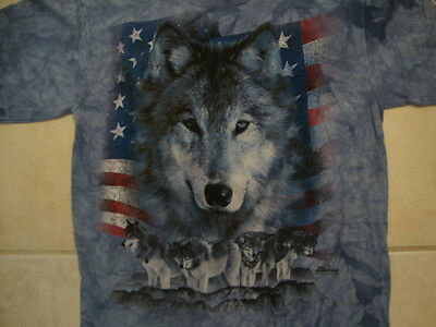 f5040c35a The Mountain Vail Colorado Wolf American Flag Patriotic T Shirt M
