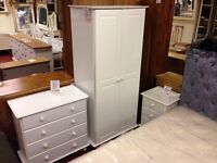 New Sol Solid White 3 drawer bedside