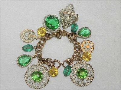 "Vintage Green Glass Rhinestone Bauble 7 1/2"" Gold Tone Charm Bracelet Germany"