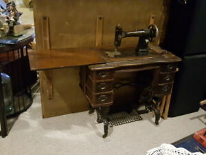 White Cabinet Sewing Machine