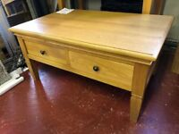 New Solid Oak coffee table with 2 drawers HALF PRICE £149