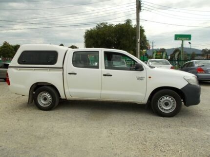 2013 Toyota Hilux TGN16R MY12 Workmate Double Cab White 5 Speed Manual Utility
