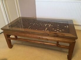 Banyan Tree Antique Chinese Coffee Table with Glass Top