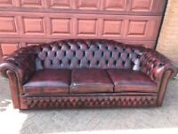 Oxblood leather chesterfield sofa
