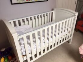 John Lewis Elizabeth White Cotbed plus mattress sheets & duvet