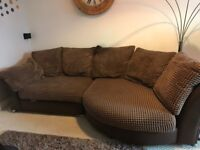 DFS mocha cuddle fabric and leather sofa with pillows L shape lounger