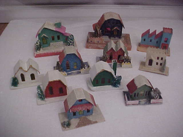 16 Vintage Mica Glitter Cardboard Christmas Village Putz Houses