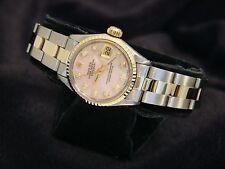 Rolex Datejust Ladies 14K Yellow Gold & Steel Watch Pink MOP Diamond Dial 6917