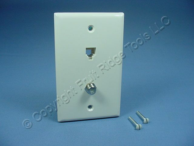 Leviton Light Almond Phone Cable CATV Video Jack Wall Plate Telephone 40259-T