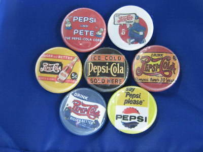 Pepsi Cola Bottle Caps Ad Collect 7 Pinback Buttons Nnz