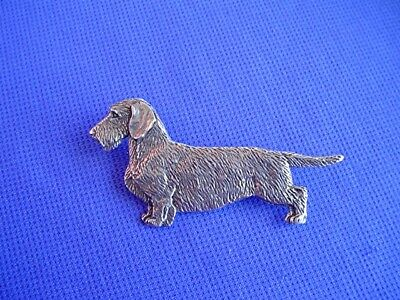 Pewter Dachshund wire haired Standing pin #20B dog jewelry by Cindy A. Conter