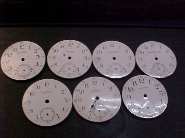 lot of 7 Waltham private label pocket watch dials