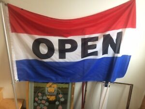 """OPEN"" flag, pole, bracket, and door sign"