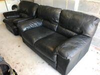 Black Leather Sofa & Armchair