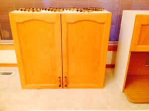 7 Pce Oak Cabinets with Hardware, Counter Tops and Sink