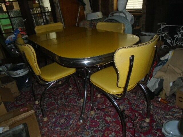 Vintage 1950s Yellow Formica Chrome Table Dinette Set Vinyl Chairs