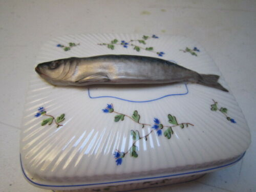 Antique Large C. P. & Co. Mehun France Porcelain Sardine Trinket Box