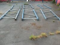 3 uprights ( cut in the middle ) . 5 m long . ( or 6 uprights by 2.5m ) . Brand - Dexion M .