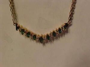 #1319-14K Y/Gold NECKLACE EMERALDS & DIAMONDS-APPRAISED $2,550.00 SELL $685.00 FREE EXPRESS SHIPPING IN CANADA ONLY