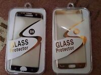 Brand new S7 edge glass protectors blacks and gold