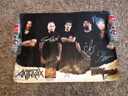 Anthrax Signed Concert Poster Ian Belladonna Caggiano Benante Band Autograph
