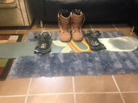 Never Used Men's Snowboard with Bindings and Boots (Size 12)