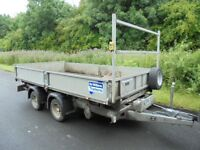 IFOR WILLIAMS TWIN WHEEL 12ft DROPSIDE TIPPING TRAILER, REMOTE CONTROL, CHEAPEST AROUND