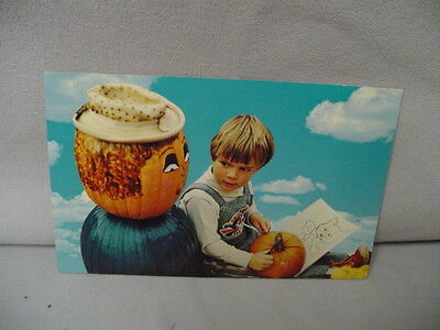 Halloween Post Card Pumpkinville, N.Y. Boy & Pumpkinman 5.5