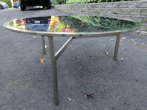 1970's VINTAGE HOLLYWOOD REGENCY CHROME STEEL GLASS COFFEE TABLE