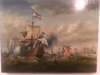 Oil on Canvas Painting of Ships at War. Excellent copy of great master.