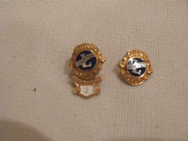 2 VINTAGE Fratenal Lions Club DIRECTOR Pin 1/10 10K Gold Filled Leavens .62""