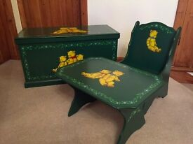 Gorgeous wooden hand painted child's table, chair & toy chest
