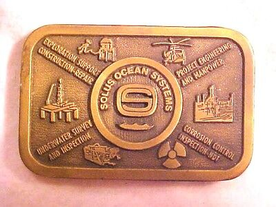 """Solus Ocean Systems Solid Brass Belt Buckle Mens 2"""" X 3 1/4"""" Hit Line USA  #H510"""