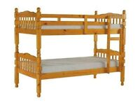 SPECIAL OFFER - BRAND NEW - BRAZILIAN PINE BUNK BED - STRONG & SOLID - CAN BE SPLIT IN 2 SINGLE BEDS