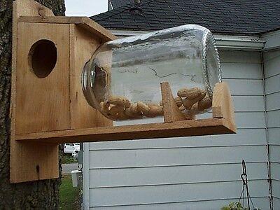 Handmade Cedar Wood Squirrel Feeder With Jar