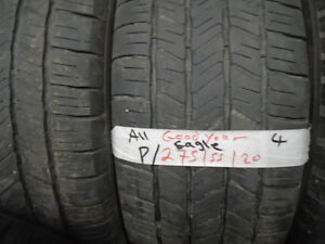 FOUR USED ALL SEASON 275-55-20 { GOODYEAR  } R.H AUTO