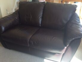 Sofa, Chair & Footstool - Brown Leather -£350-Offers Welcome