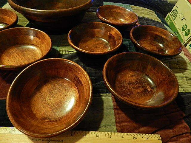 WOOD BOWLS 8 Individual 1 Large Serving Bowl Lightweight Retro Vtg Ltd - $50.00