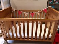 Lovely Boori 3 in 1 cot bed, organic mattress and fitted sheets