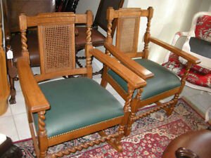 antique twin rocker and chair rattan back barley twist, leather