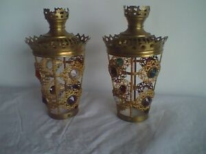 Antique Candle Oil or Kerosene Jeweled Lamp Shades (Pair)