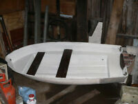 Fibreglass dinghy with built in bouyancy tanks