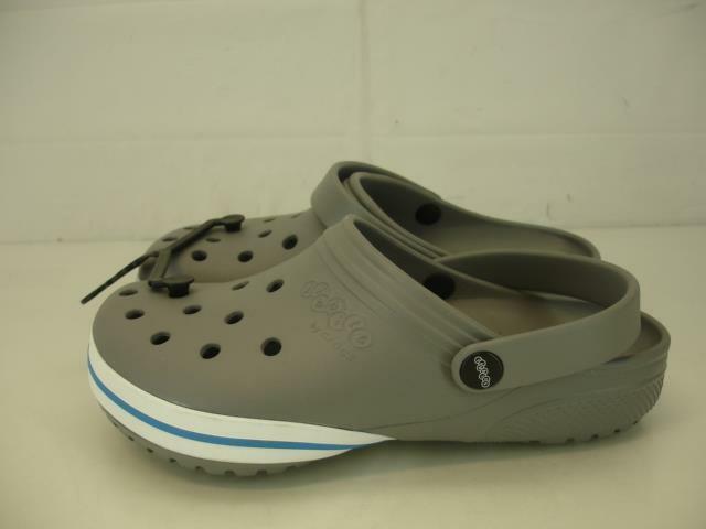 Jibbitz Crocs Men's Kilby Clog Smoke Gray Stripe Size 12 Pools Shoes Sandals New