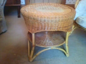 Cane and wicker table - good condition
