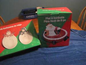 3 Snowmen Dishes and 1 Santa Candy Bowl